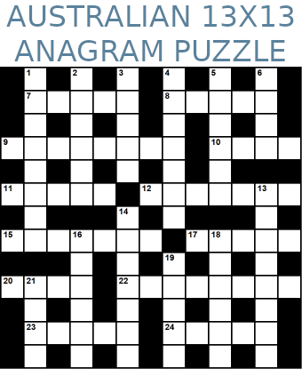 Australian 13x13 anagram crossword puzzle no.309