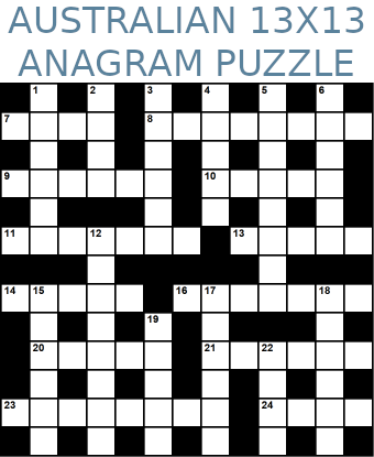 Australian 13x13 anagram crossword puzzle no.310