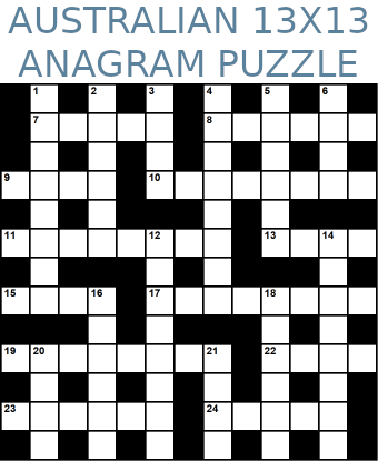 Australian 13x13 anagram crossword puzzle no.311