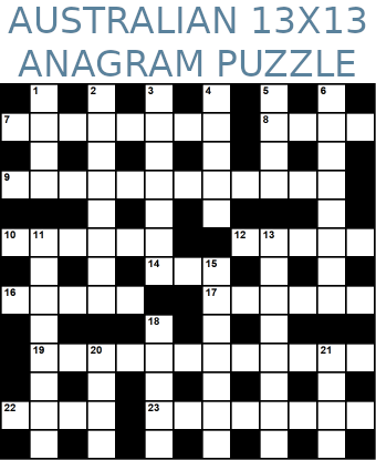 Australian 13x13 anagram crossword puzzle no.314