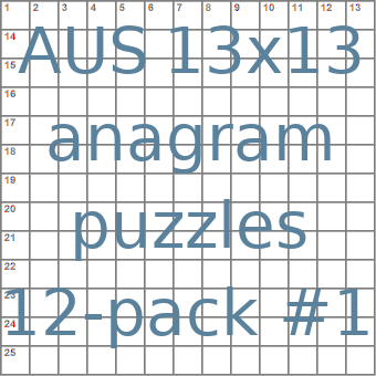 Australian 13x13 anagram crossword puzzles 12-pack no.1