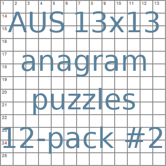 Australian 13x13 anagram crossword puzzles 12-pack no.2