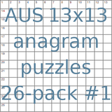 Australian 13x13 anagram crossword puzzles 26-pack no.1
