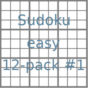 Sudoku 9x9 easy puzzles 12-pack no.1