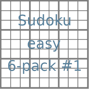 Sudoku 9x9 easy puzzles 6-pack no.1