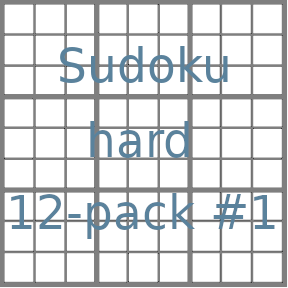 Sudoku 9x9 hard puzzles 12-pack no.1