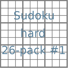 Sudoku 9x9 hard puzzles 26-pack no.1