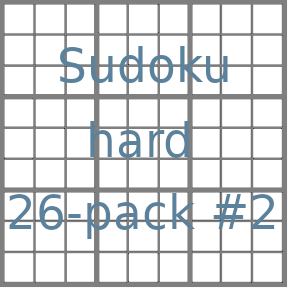 Sudoku 9x9 hard puzzles 26-pack no.2