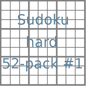 Sudoku 9x9 hard puzzles 52-pack no.1