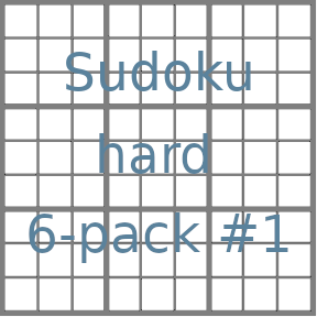 Sudoku 9x9 hard puzzles 6-pack no.1
