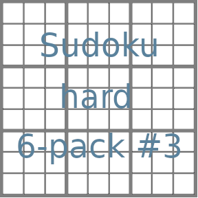 Sudoku 9x9 hard puzzles 6-pack no.3