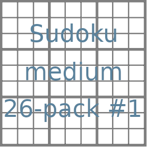 Sudoku 9x9 medium puzzles 26-pack no.1