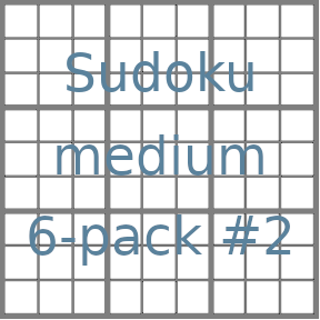 Sudoku 9x9 medium puzzles 6-pack no.2