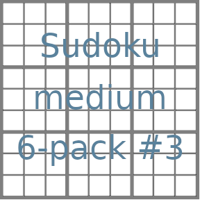 Sudoku 9x9 medium puzzles 6-pack no.3
