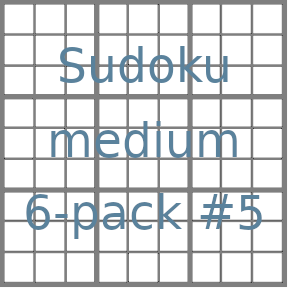 Sudoku 9x9 medium puzzles 6-pack no.5