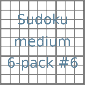 Sudoku 9x9 medium puzzles 6-pack no.6