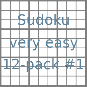 Sudoku 9x9 very easy puzzles 12-pack no.1