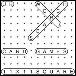 British 11x11 Wordsearch puzzle no.304 - card games
