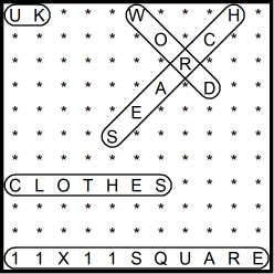 British 11x11 Wordsearch puzzle no.305 - clothes