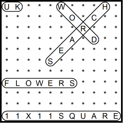 British 11x11 Wordsearch puzzle no.307 - flowers
