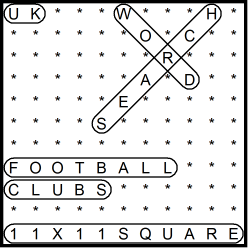 British 11x11 Wordsearch puzzle no.308 - football clubs