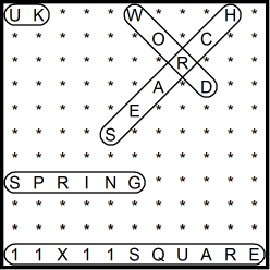 British 11x11 Wordsearch puzzle no.311 - Spring