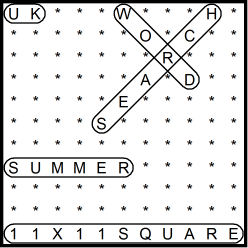 British 11x11 Wordsearch puzzle no.312 - Summer