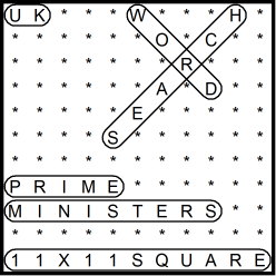 British 11x11 Wordsearch puzzle no.314 - Prime Ministers