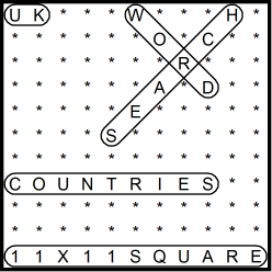 British 11x11 Wordsearch puzzle no.316 - countries