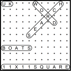 British 11x11 Wordsearch puzzle no.317 - boats