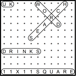 British 11x11 Wordsearch puzzle no.319 - drinks