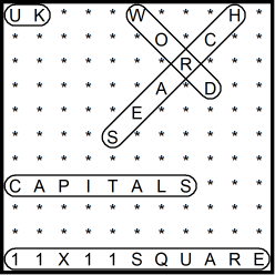 British 11x11 Wordsearch puzzle no.320 - capitals