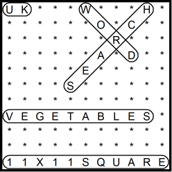 British 11x11 Wordsearch puzzle no.321 - vegetables