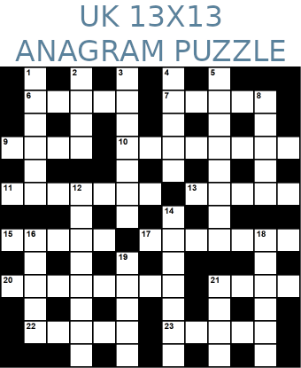 British 13x13 anagram crossword puzzle no.303