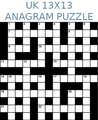 British 13x13 anagram crossword puzzle no.307