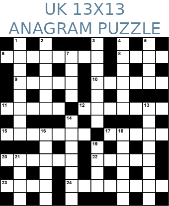 British 13x13 anagram crossword puzzle no.309