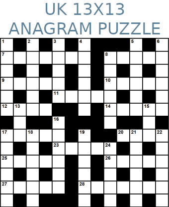 British 13x13 anagram crossword puzzle no.315