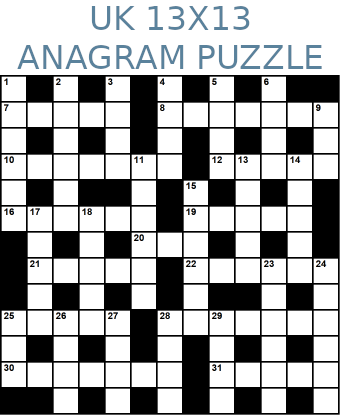 British 13x13 anagram crossword puzzle no.316