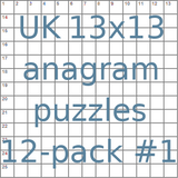 British 13x13 anagram crossword puzzles 12-pack no.1