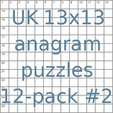 British 13x13 anagram crossword puzzles 12-pack no.2