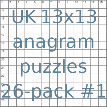 British 13x13 anagram crossword puzzles 26-pack no.1
