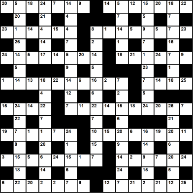 British 15x15 codeword puzzle no.309
