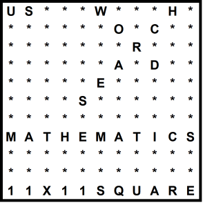 American 11x11 Wordsearch puzzle no.333 - mathematics