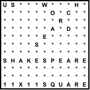 American 11x11 Wordsearch puzzle no.334 - Shakespeare