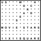 American 11x11 Wordsearch puzzle no.306 - movie stars