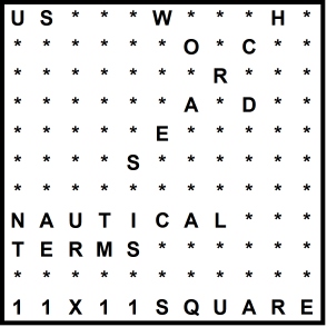 American 11x11 Wordsearch puzzle no.307 - nautical terms