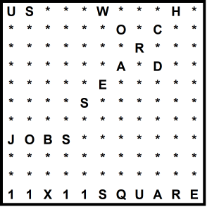 American 11x11 Wordsearch puzzle no.314 - jobs