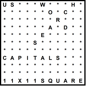 American 11x11 Wordsearch puzzle no.315 - capitals