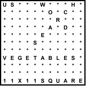 American 11x11 Wordsearch puzzle no.316 - vegetables