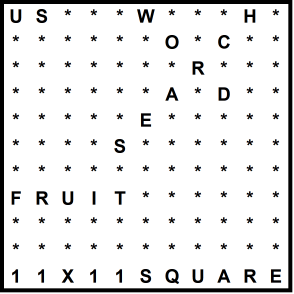 American 11x11 Wordsearch puzzle no.317 - fruit